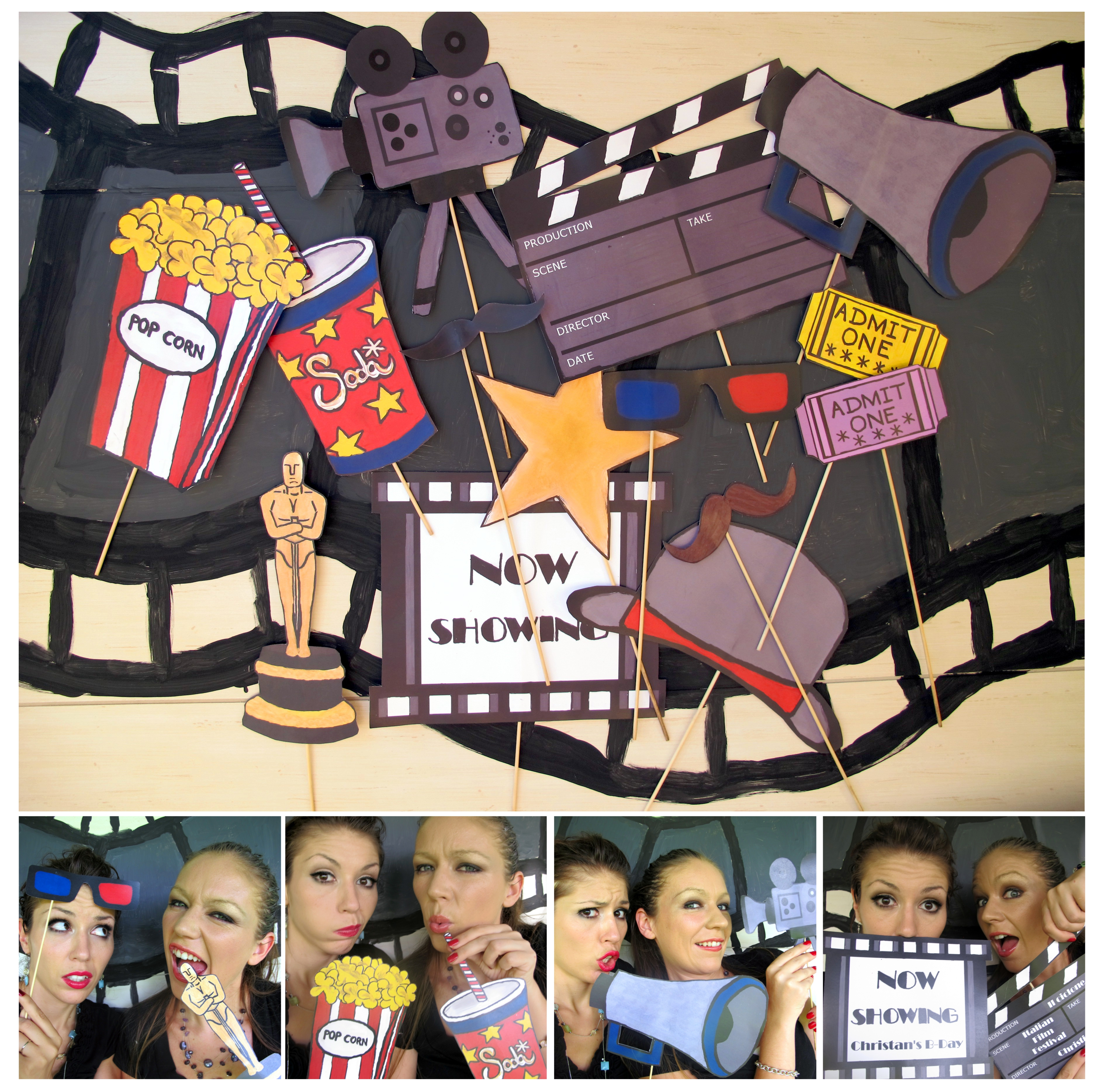 Movie Photo Booth Props For A Movie Night, Oscar Bash
