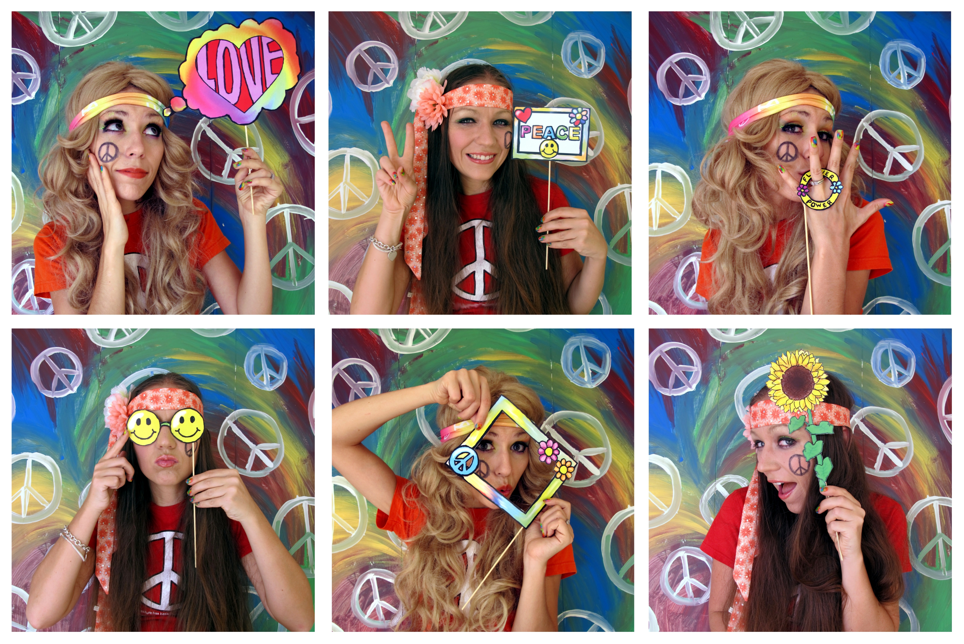 Hippie photo booth props perfect for a sixties or flower for 60s party decoration