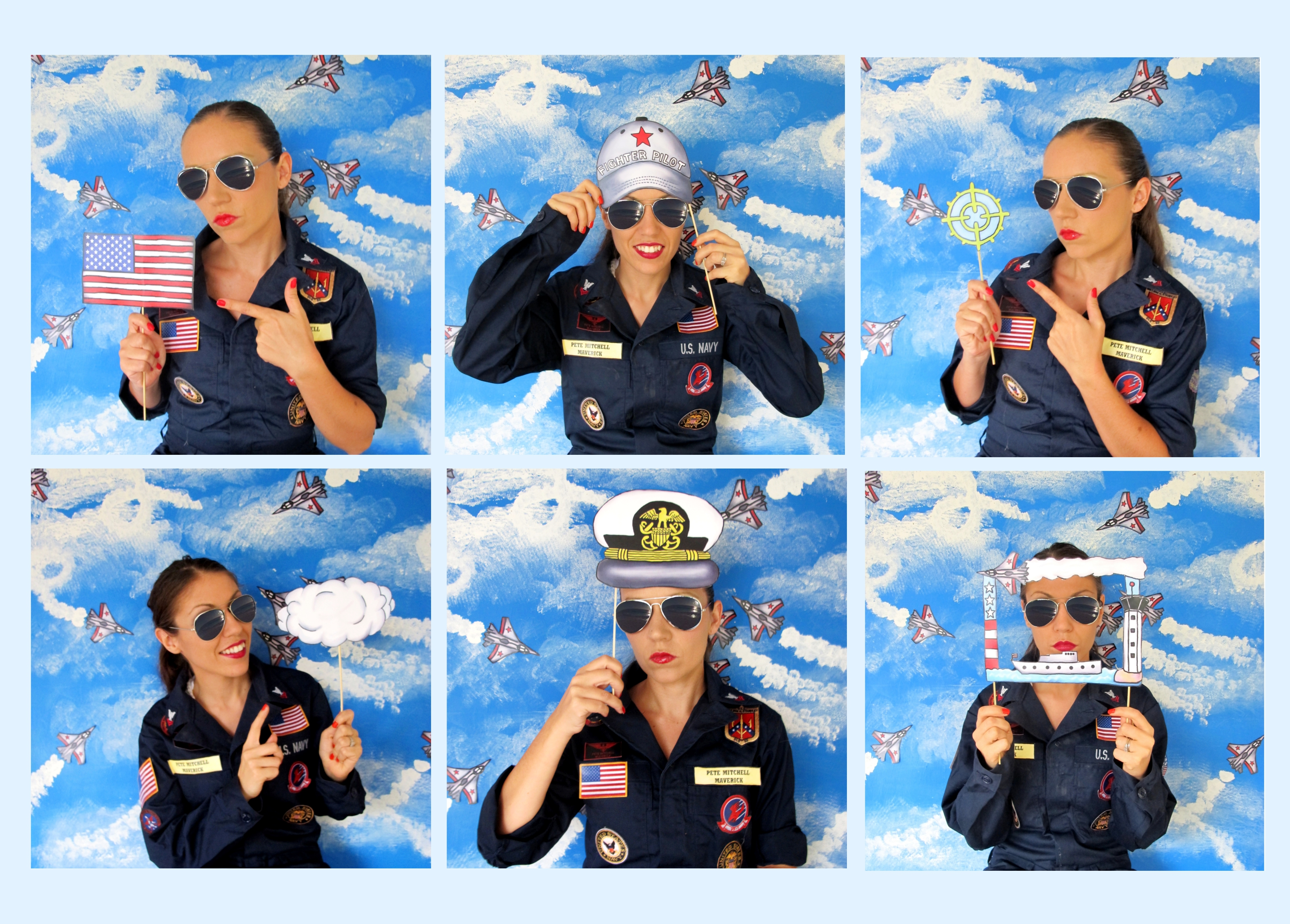 Top Gun Inspired Fighter Pilot Navy Photo Booth Props Perfect For