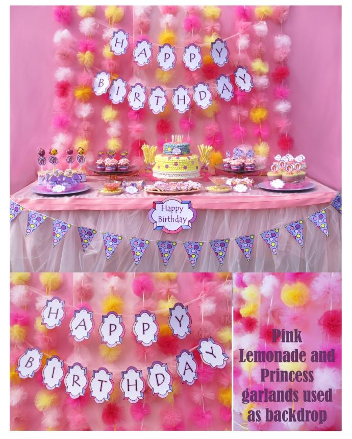 pink lemonade garland collage